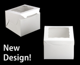 """3438 - 8"""" x 8"""" x 6"""" White/White with Window, Lock & Tab Box With Lid"""