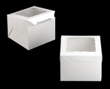 "3438 - 8"" x 8"" x 6"" White/White with Window, Lock & Tab Box With Lid"