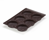 "3440 - 9 1/2"" x 6"" x 15/16"" Chocolate Brown 6 Cavity, Candy Tray"
