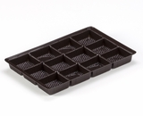 "3441 - 9 1/2"" x 6"" x 15/16"" Chocolate Brown 12 Cavity, Candy Tray"