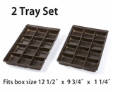 "3441x3441 - 2 pack set Chocolate Brown 12 Cavity Tray  9 1/2"" x 6"" x 15/16"" . D02xD02"