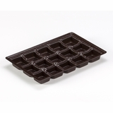 "3442 - 9 1/2"" x 6"" x 15/16"" Chocolate Brown 15 Cavity, Candy Tray"