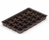 "3443 - 9 1/2"" x 6"" x 15/16"" Chocolate Brown 24 Cavity, Candy Tray. D03"
