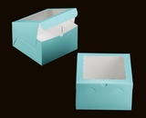 "3468 - 10"" x 10"" x 6"" Diamond Blue/White with Window, Lock & Tab Box With Lid"