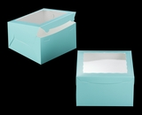 "3468 - 10"" x 10"" x 6"" Diamond Blue/White with Window, Lock & Tab Box With Lid. A34"