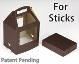 "3471x3472 - 8 1/2"" x 6"" x 8"" Chocolate/Brown Cake Pop Box Set for Sticks, 50 COUNT"