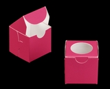 "3478 - 2 1/2"" x 2 1/2"" x 2 1/2"" Pink/White with Window, Lock & Tab Box With Lid"