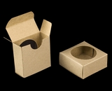 "3490 - 2 1/4"" x 2 1/4"" x 1"" Brown/Brown, Favor Box with window"