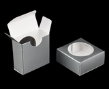 "3493 - 2 1/4"" x 2 1/4"" x 1"" Silver/White, Favor Box with window"