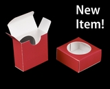 "3495 - 2 1/4"" x 2 1/4"" x 1"" Red/White, Favor Box with window"