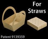 "3499x3466 - 8 1/2"" x 6 1/4"" x 9 1/2"" Brown/Brown Basket Box and Tray Set for Paper Straws, 50 COUNT"