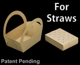 """3499x3466 - 8 1/2"""" x 6 1/4"""" x 9 1/2"""" Brown/Brown Basket Box and Tray Set for Paper Straws, 50 COUNT"""