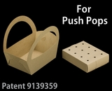"3499x3467 - 8 1/2"" x 6 1/4"" x 9 1/2"" Brown/Brown Basket Box and Tray Set for Push Pops, 50 COUNT"