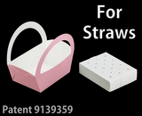 "3502x3464 -8 1/2"" x 6 1/4"" x 9 1/2"" Light Pink/White Basket Box and Tray Set for Paper Straws, 50 COUNT"