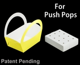 """3503x3465 - 8 1/2"""" x 6 1/4"""" x 9 1/2"""" Yellow/White Basket Box and Tray Set for Push Pops, 50 COUNT"""