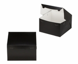 "3508 - 10"" x 10"" x 6"" Black/White without Window, Lock & Tab Box with Lid"
