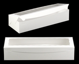 "3512 - 20"" x 7"" x 4"" White/White with Window, One Piece Lock & Tab Box With Lid. A33"