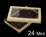 "3529x3514x3443 - 9 1/2"" x 6"" x 1 1/4"" Brown/Brown Two Piece Simplex Box with Window, and 24 Cavity Tray Set"