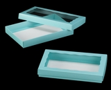 "3530x3536 - 9 1/2"" x 6"" x 1 1/4"" Diamond Blue/White Two Piece Simplex Box Set, with Window. C09xC06"