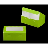 "3534 - 10"" x 7"" x 4"" Green/White with Window, Lock & Tab Box With Lid"