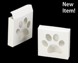 "3540 - 4 3/8"" x 4 3/8"" x 1"" White/White with Puppy Paw Window, Reverse Tuck Box. B03"