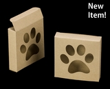 "3541 - 4 3/8"" x 4 3/8"" x 1"" Brown/Brown with Puppy Paw Window, Reverse Tuck Box. B03"