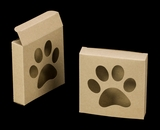 "3541 - 4 3/8"" x 4 3/8"" x 1"" Brown/Brown with Puppy Paw Window, Reverse Tuck Box"