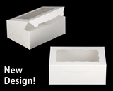 """3576 - 10"""" x 7"""" x 4"""" White/White with Window, Lock & Tab Box With Lid"""