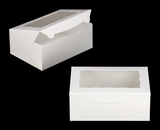 "3576 - 10"" x 7"" x 4"" White/White with Window, Lock & Tab Box With Lid. A21"