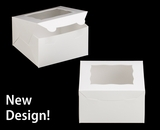"""3577 - 7"""" x 7"""" x 4"""" White/White with Window, Lock & Tab Box with Lid"""