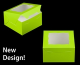 """3578 - 7"""" x 7"""" x 4"""" Lime Green/White with Window, Lock & Tab Box with Lid"""