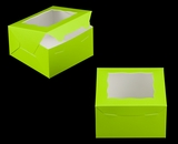"3578 - 7"" x 7"" x 4"" Lime Green/White with Window, Lock & Tab Box with Lid. A17"