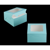 "3579 - 7"" x 7"" x 4"" Diamond Blue/White with Window, Lock & Tab Box With Lid"
