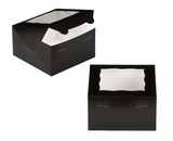 "3580 - 7"" x 7"" x 4"" Black/White with Window, Lock & Tab Box With Lid. A17"