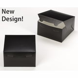 """3581 - 7"""" x 7"""" x 4"""" Black/White without Window, Lock & Tab Box with Lid"""