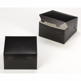 "3581 - 7"" x 7"" x 4"" Black/White without Window, Lock & Tab Box with Lid"