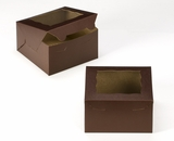 "3583 - 7"" x 7"" x 4"" Chocolate/Brown with Window, Lock & Tab Box With Lid. A15"