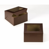 "3583 - 7"" x 7"" x 4"" Chocolate/Brown with Window, Lock & Tab Box With Lid"
