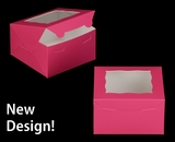 """3585 - 7"""" x 7"""" x 4"""" Pink/White with Window, Lock & Tab Box With Lid"""