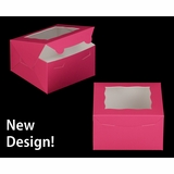 "3585 - 7"" x 7"" x 4"" Pink/White with Window, Lock & Tab Box With Lid"