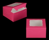 "3585 - 7"" x 7"" x 4"" Pink/White with Window, Lock & Tab Box With Lid. A17"