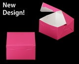 """3586 - 7"""" x 7"""" x 4"""" Pink/White without Window, Lock & Tab Box With Lid"""