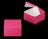 "3586 - 7"" x 7"" x 4"" Pink/White without Window, Lock & Tab Box With Lid. A18"