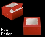"""3587 - 7"""" x 7"""" x 4"""" Red/White with Window, Lock & Tab Box With Lid"""