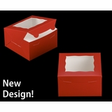 "3587 - 7"" x 7"" x 4"" Red/White with Window, Lock & Tab Box With Lid"