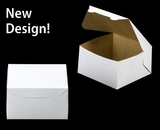 """3588 - 7"""" x 7"""" x 4"""" White/Brown without Window, Lock & Tab Box With Lid"""