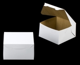"3588 - 7"" x 7"" x 4"" White/Brown without Window, Lock & Tab Box With Lid. A20"