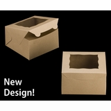 "3589 - 7"" x 7"" x 4"" Brown/Brown with Window, Lock & Tab Box With Lid"