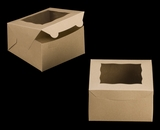 "3589 - 7"" x 7"" x 4"" Brown/Brown with Window, Lock & Tab Box With Lid. A12"