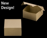 """3590 - 7"""" x 7"""" x 4"""" Brown/Brown without Window, Lock & Tab Box With Lid"""